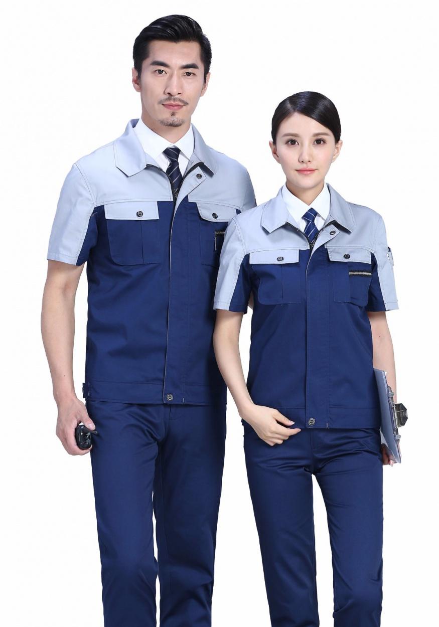 藏蓝+灰时尚色彩涤棉细斜夏季短袖工作服FY619